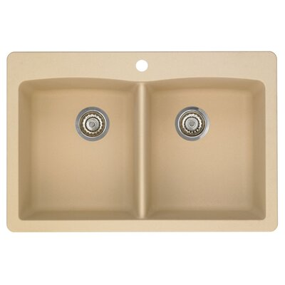 Diamond 33 x 22 Equal Double Bowl Drop-In Kitchen Sink Finish: Biscotti