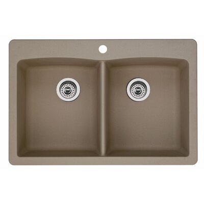 Diamond 33 x 22 Equal Double Bowl Drop-In Kitchen Sink Finish: Truffle