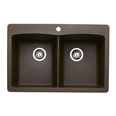 Diamond 33 x 22 Equal Double Bowl Drop-In Kitchen Sink Finish: Cafe Brown
