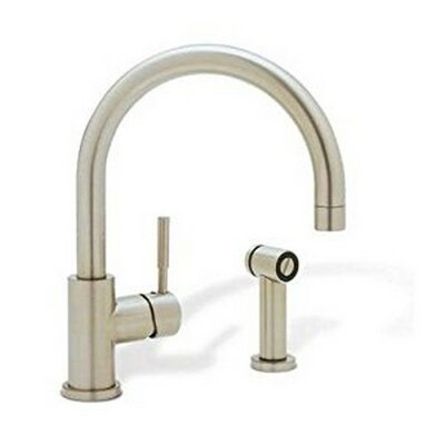 Meridian Single Handle Deck Mounted Kitchen Faucet with Side Spray Finish: Satin Nickel
