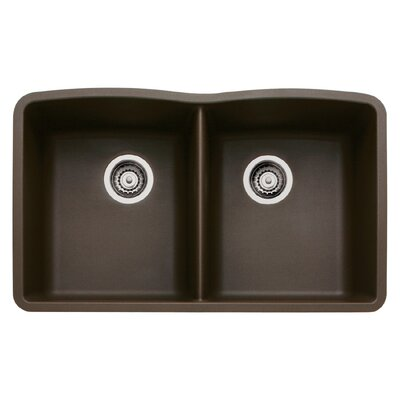 Diamond 32 x 19.25 Equal Double Bowl Undermount Kitchen Sink Finish: Cafe Brown