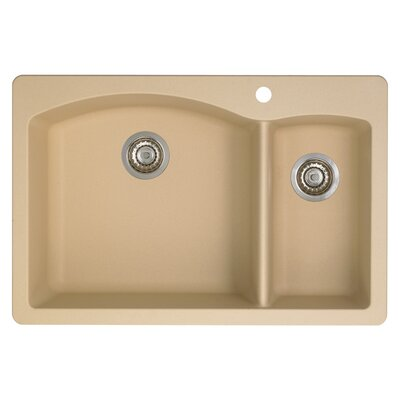 Diamond 33 x 22 2 Basin Drop-In Kitchen Sink Finish: Biscotti