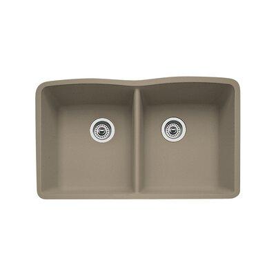 Diamond 32 x 19.25 Equal Double Bowl Undermount Kitchen Sink Finish: Truffle
