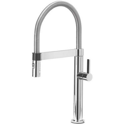 Culina Single Handle Deck Mounted Kitchen Faucet with Pull Down Finish: Satin Nickel