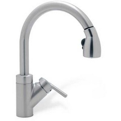 Rados Single Handle Deck Mounted  Kitchen Faucet with Pull Out Spray Finish: Satin Nickel with Black pull-down spray