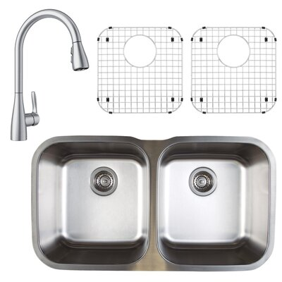 Stellar 33 x 19 Double Basin Undermount Kitchen Sink with Faucet, Sink Grid and Sink Strainer