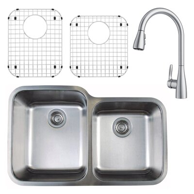 Stellar 32 x 21 Double Basin Undermount Kitchen Sink with Faucet, Sink Grid and Sink Strainer