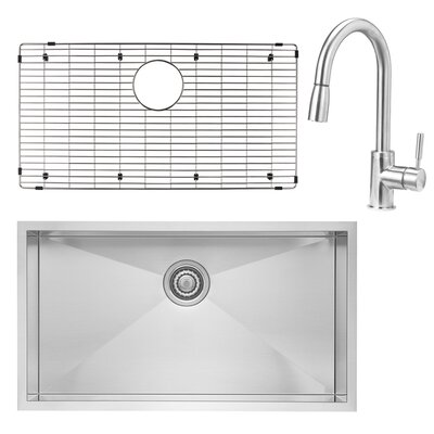 Quatrus 32 x 18 Undermount Kitchen Sink with Faucet, Sink Grid and Sink Strainer