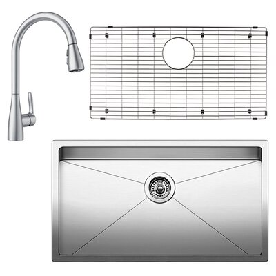 Quatrus 18 x 32 Undermount Kitchen Sink with Faucet, Sink Grid and Sink Strainer