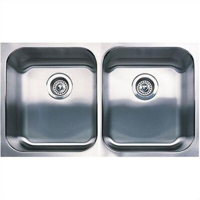 Spex 31.13 x 18 Equal Double Bowl Undermount Kitchen Sink