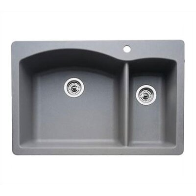 Diamond 33 x 22 2 Basin Drop-In Kitchen Sink Finish: Metallic Gray