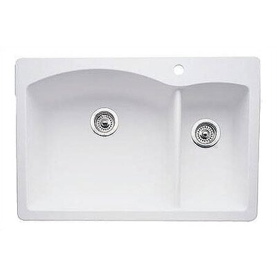 Diamond 33 x 22 2 Basin Drop-In Kitchen Sink Finish: White