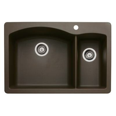 Diamond 33 x 22 2 Basin Drop-In Kitchen Sink Finish: Caf� Brown