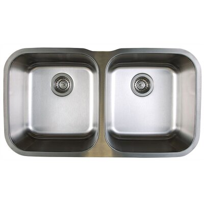 Stellar 33.33 x 18.5 Equal Double Bowl Undermount Kitchen Sink