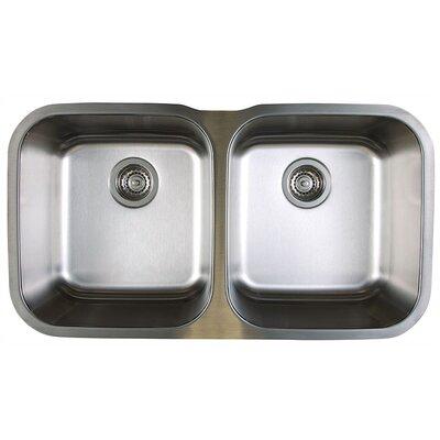 Stellar 33.33 x 18.5 Equal Double Bowl Undermount Kitchen Sink