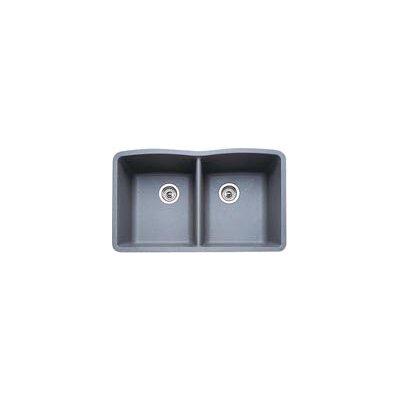Diamond 32 x 19.25 Equal Double Bowl Undermount Kitchen Sink Finish: Metallic Gray