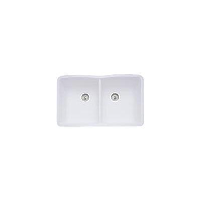Diamond 32 x 19.25 Equal Double Bowl Undermount Kitchen Sink Finish: White