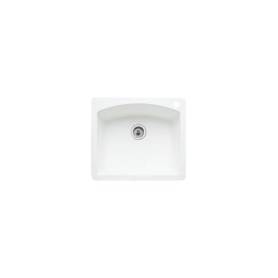 Diamond 25 x 22 Single Bowl Drop-In Kitchen Sink Finish: White