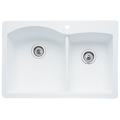 Diamond 33 x 22 Bowl Drop-In Kitchen Sink Finish: White
