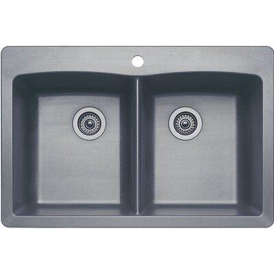 Diamond 33 x 22 Equal Double Bowl Drop-In Kitchen Sink Finish: Metallic Gray