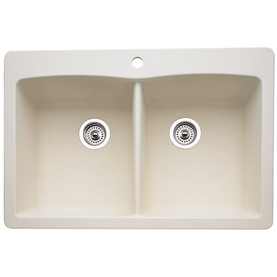 Diamond 33 x 22 Equal Double Bowl Drop-In Kitchen Sink Finish: Biscuit