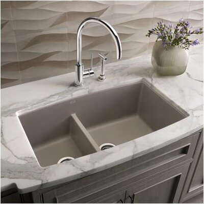 Performa 33 x 19 2 Basin Undermount Kitchen Sink Finish: Truffle