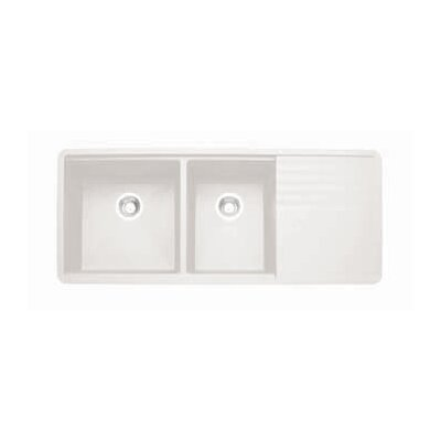 Precis 48 x 20 Multilevel Kitchen Sink Finish: White