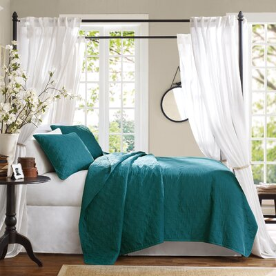 3 Piece Coverlet Set Size: Queen, Color: Peacock