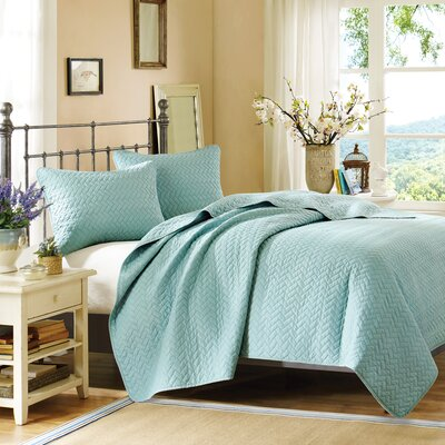 3 Piece Coverlet Set Size: King, Color: Sky