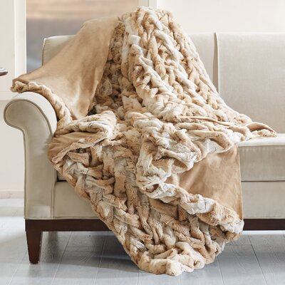 Lifestyle Ruched Throw Color: Tan
