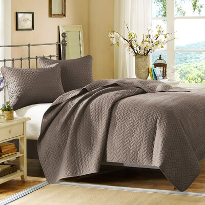3 Piece Coverlet Set Size: King, Color: Taupe