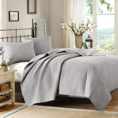 3 Piece Coverlet Set Size: King, Color: Steel
