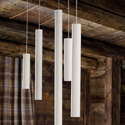 A-Tube 1-Light Cascade Pendant Finish: White, Size: 23.62 H x 2.36 W