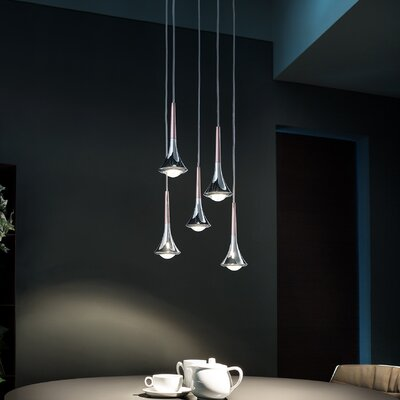 Rain 5-Light LED Cluster Pendant Finish: Rose Gold