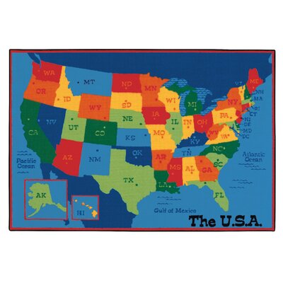 Value Plus USA Map Tufted Area Rug Rug Size: 8 x 12