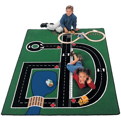 Theme Neighborhood Road Green Area Rug Rug Size: 510 x 84