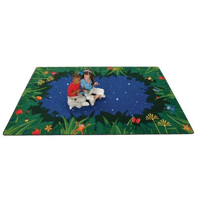 Printed Peaceful Tropical Night Blue Area Rug Rug Size: 8 x 12
