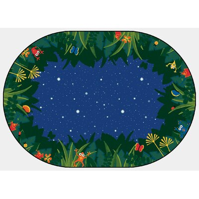 Printed Peaceful Tropical Night Blue Area Rug Rug Size: Oval 310 x 55