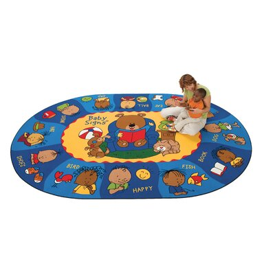 Printed Sign, Say, and Play Blue Area Rug Rug Size: Oval 69 x 95