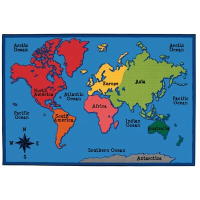 Value Plus World Map Area Rug Rug Size: 6 x 9