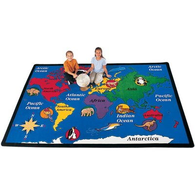 Geography Blue World Explorer Area Rug Rug Size: 84 x 118
