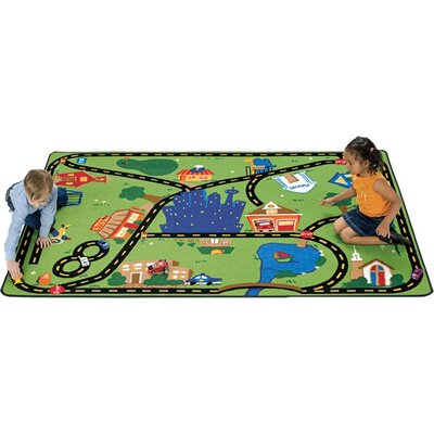 Theme Cruisin Around the Town Green Area Rug Rug Size: 8 x 12