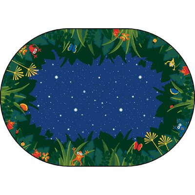 Emerado Peaceful Tropical Night Blue Area Rug Rug Size: Oval 6 x 9