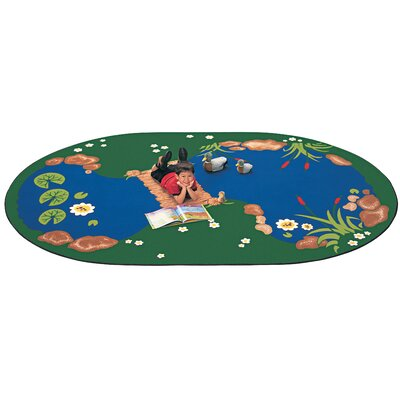 Printed The Pond Area Rug Rug Size: Oval 83 x 118