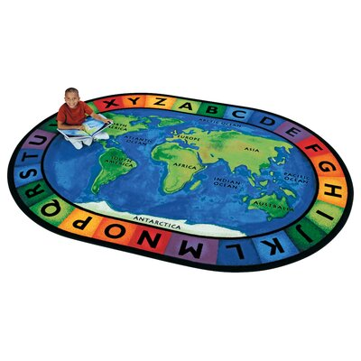 Printed Circletime Around the World Area Rug Rug Size: Oval 69 x 95