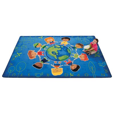 Printed Give The Planet A Hug Blue Area Rug Rug Size: 6 x 9