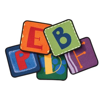 Toddler Alphabet Blocks Squares Primary Area Rug Rug Size: Square 14