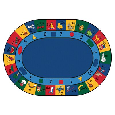 Printed Learning Blocks Area Rug Rug Size: Oval 83 x 118
