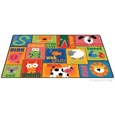 Printed Animal Sounds Toddler Area Rug Rug Size: 4 x 6
