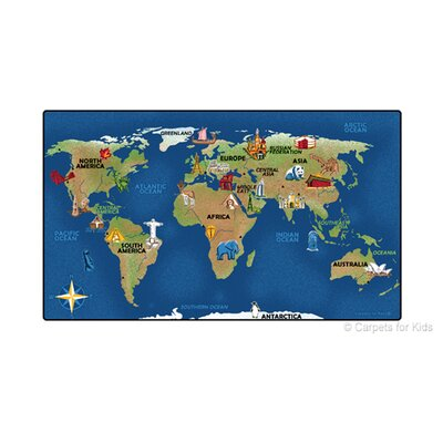 Emerado Continental Wonders Blue Area Rug Rug Size: 7 x 12